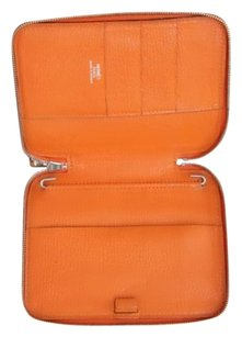 Hermès Authentic Hermes Orange Epsom Globe Trotter Zip Around Agenda PM