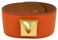 Hermès AUTHENTIC HERMES STUDDED BANGLE BRACELET ORANGE LEATHER MADE IN FRANCE S00276b
