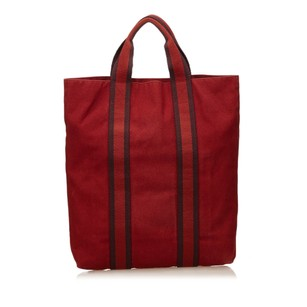 Hermès Brown Canvas Red Tote
