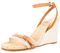 Hermès Canvas Buckle Espadrille Sandal Beige, Brown Wedges