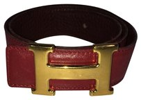 Hermès CHECK STOCK Hermes Red Reversible Belt Gold Buckle NOT AT STORE