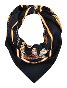 Hermès Hermes Black Gold Multicolor Silk Qu Importe Le Flacon Vase And Bottle Scarf