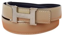 Hermès HERMES Buckle Belt Leather Gold Beige