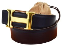 Hermès HERMES Constance H Buckle Belt Leather Gold Black #60