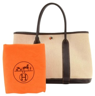 Hermès Garden Party Chocolate Brown Leather / Canvas Hand Tote in Beige