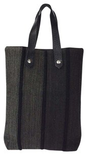 Herms Hermes Hand Wool Leather Tote in Black,Gray