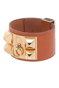 Herms Hermes Orange Swift Leather Collier De Chien Bracelet