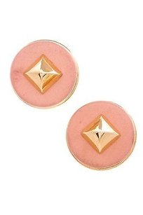 Herms Hermes Vintage Gold-tone Light Pink Leather Spike Clip-on Earrings
