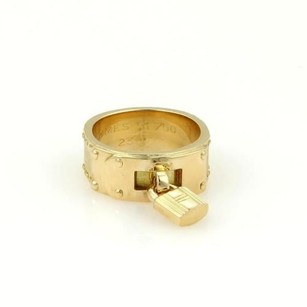 Hermès Hermes 18k Yellow Gold H Padlock 7mm Band Ring 51 -