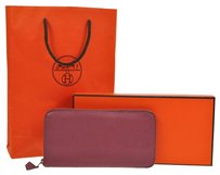 Hermès HERMES Vintage Logos Azap Zipped Long Wallet Purse Purple Chevre