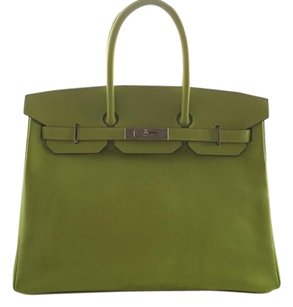 Hermès Neon Leather Birkin Green Tote in Lime Green