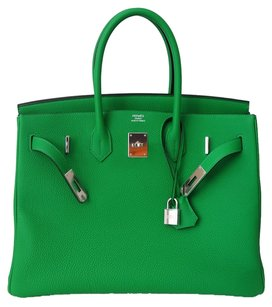 hermes New Leather Tote in green