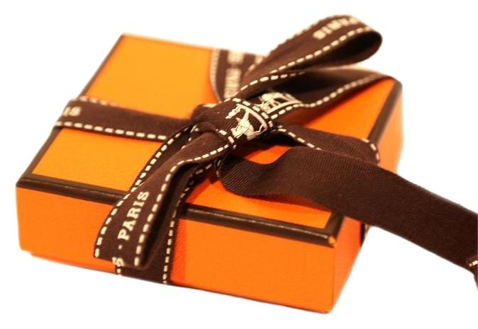 Herms Orange Box Brown Ribbon Small Signature Square Jewelry Box