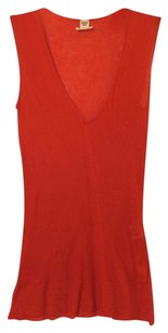 Herms Ribbed Cotton V-neck Top Red Orange
