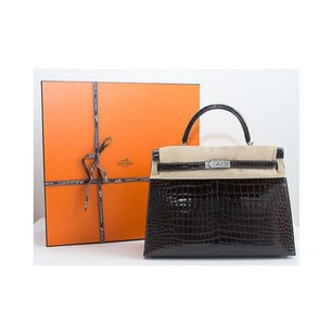 Hermès Hermes Graphite Crocodile Shoulder Bag