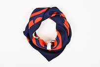 Hermès Vintage Hermes Navy Red Multicolor Silk Twill Eperon Dor Print Scarf 90 Cm