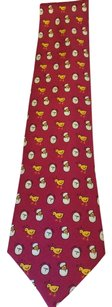 Hermès Vintage Silk Hermes Chick and Hatchling Necktie RED 7532 IA in mint condition