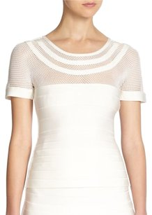 Herve Leger Mesh Bandage Top White