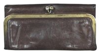 Hobo International Hobo Womens Brown Trifold Clutch Leather Wallet Purse