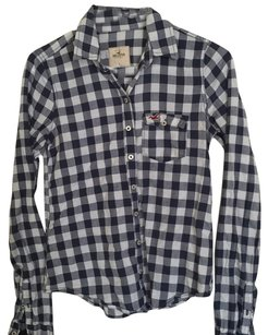 Hollister Button Down Shirt Navy blue/ white