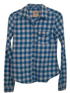 Hollister Gingham Button Down Shirt Light Blue & White