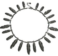 House of Harlow 1960 Gunmetal Tone All Around Rhinestone Feather Statement Necklace