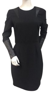 Hunter Dixon Sheath With Tags Faux Leather Sleeve Cuffs Dress