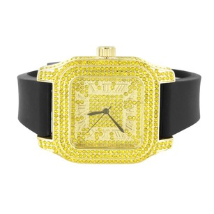 Ice Mania Canary Lab Diamond Iced Mens Square Roman Dial Joe Jojo Jojino Rubber Band Watch