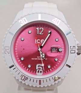 Ice Watch Ice Watch Womens Pink Dial White Silicone Strap Quartz Watch