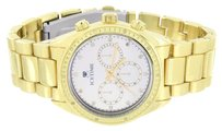 IceTime Mens Gold Finish Watch Genuine Diamond Icetime Water Resistant Analog Steel Case