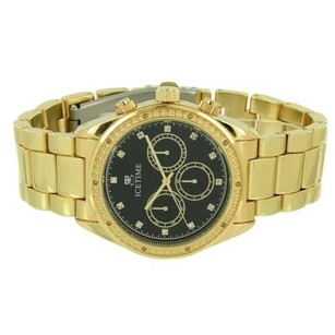 IceTime Mens Ice Time Genuine Diamond Watch Black Dial Yellow Gold Tone Water Resistant