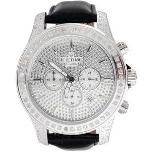 IceTime Mens Iced Out Diamond Watch Icetime Iceberg Joe Rodeo Illusion Face Ct.