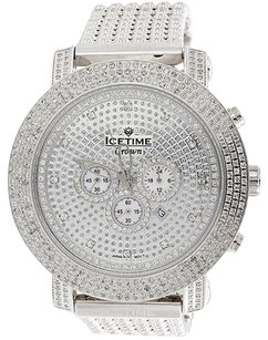 IceTime Mens Icetime Crown Diamond Band Watch 6ct. Joe Rodeo Jojo Crushed Dial