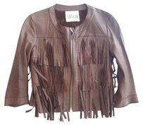 Iliia Illia Leather Fringe Brown Jacket
