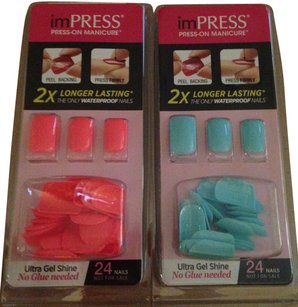 Impression Bridal New! 2 Pack imPRESS Press-On Manicure Pink & Mint : Ultra Gel Shine : No Glue Needed! 48 Nails : 2X Longer Lasting! The Only Waterproof Nails