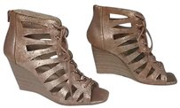 INC International Concepts Gold Metallic Leather Wedges B3633 Brown Platforms