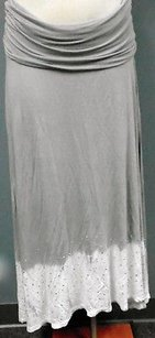 INC International Concepts Womens And White Roll Top Studded 3529a Maxi Skirt Gray