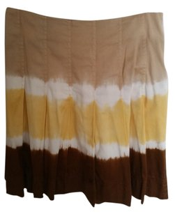 INC International Concepts Pleated Yellow Tan Camel Nude Skirt Brown