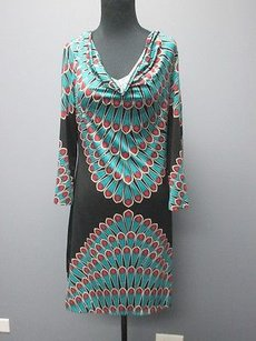 INC International Concepts Black Teal Pink Sleeve Sheath 2150 Dress