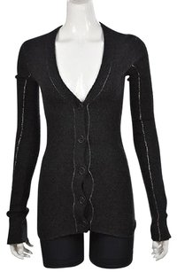 Inhabit Womens Charcoal Cardigan V Neck Long Sleeve Sweater