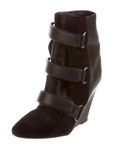 Isabel Marant Scarlet Ponyhair Buckle Ankle Wedge Leather Black Boots