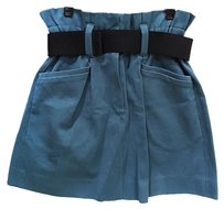 Isabel Marant Belted Gathered A-line Flare Mini Skirt Blue