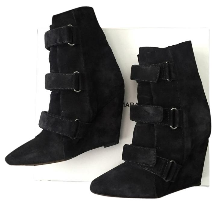Isabel Marant Black Front Buckle Wedge Boots/Booties Size US 7 Regular (M, B)