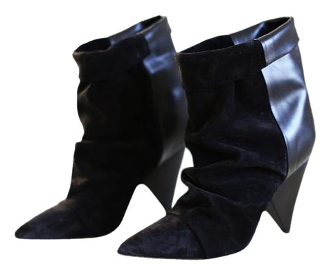 Isabel Marant Black Suede and Leather Andrew Ankle Boots/Booties Size US 6 Regular (M, B)