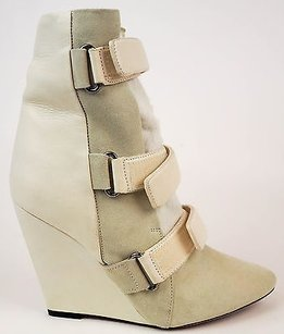 Isabel Marant Runway Leather Suede Pony Hair Wedge Eu37 Ivory Boots