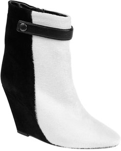 Isabel Marant Wedges Pony Hair Strap Two-tone Pointy Black/White Boots