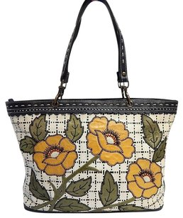 Isabella Fiore Leather Woven Straw Tote Shoulder Bag