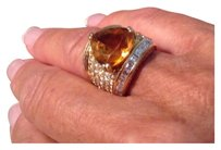 Amber topaz and diamond ring