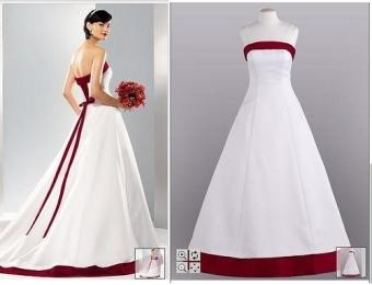 david 39 s bridal nt e8052 white a line with apple red trim wedding dress