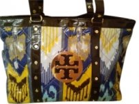 Tory Burch Tote in Blue, brown and yellow